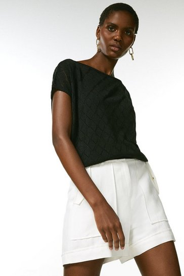 Black Textured Pointelle Linen Top