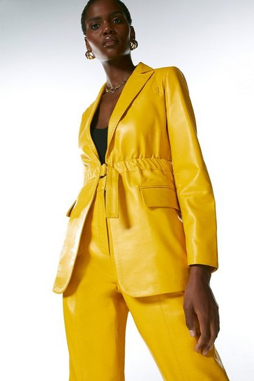 Mustard Leather D Ring Belted Blazer