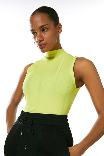 Lime Rivet Shoulder Jersey Rib Funnel Neck Top