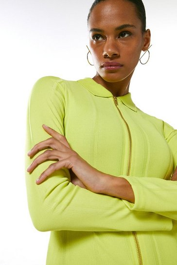 Lime Zip Front Jersey Rib Shirt