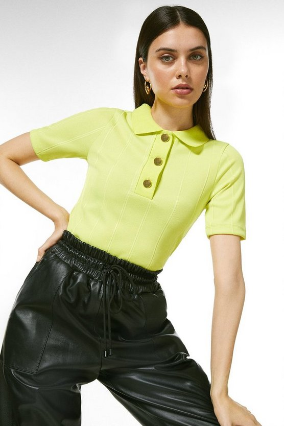 Lime Popper Collar Jersey Rib Top