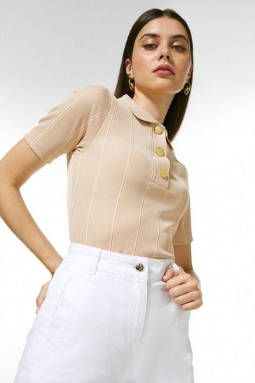 Mink Popper Collar Jersey Rib Top