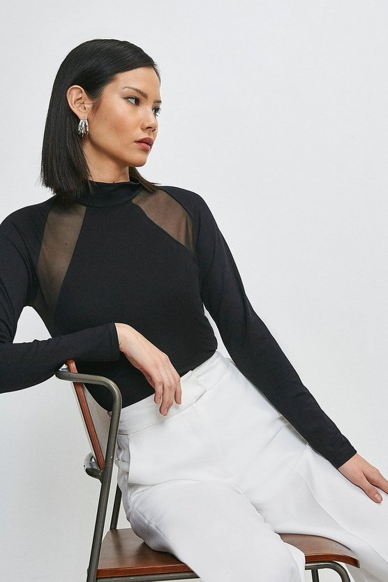 Black Viscose Jersey And Mesh Insert Top