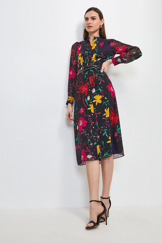 Black Pintuck Floral Studded Belt Dress