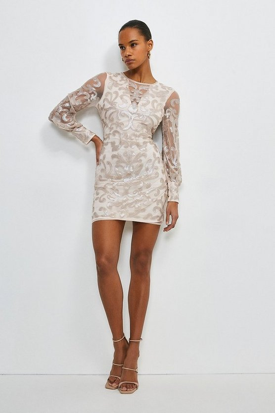 Champagne Backless Sequin Embellished Dress