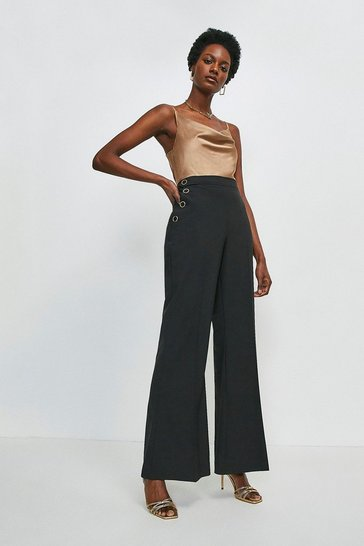 Black Wool Blend High Waisted Wide Leg Trousers