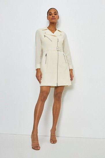 Ivory Polished Stretch Wool Blend Belted Biker Dress