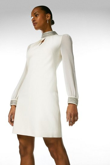 Ivory Diamante Detail Sheer Sleeve Dress