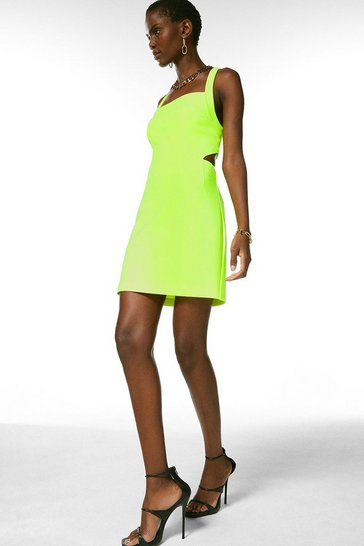 Lime Bodycon Cross Back Mini Dress