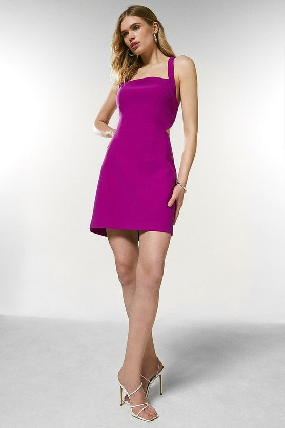 Purple Bodycon Cross Back Mini Dress