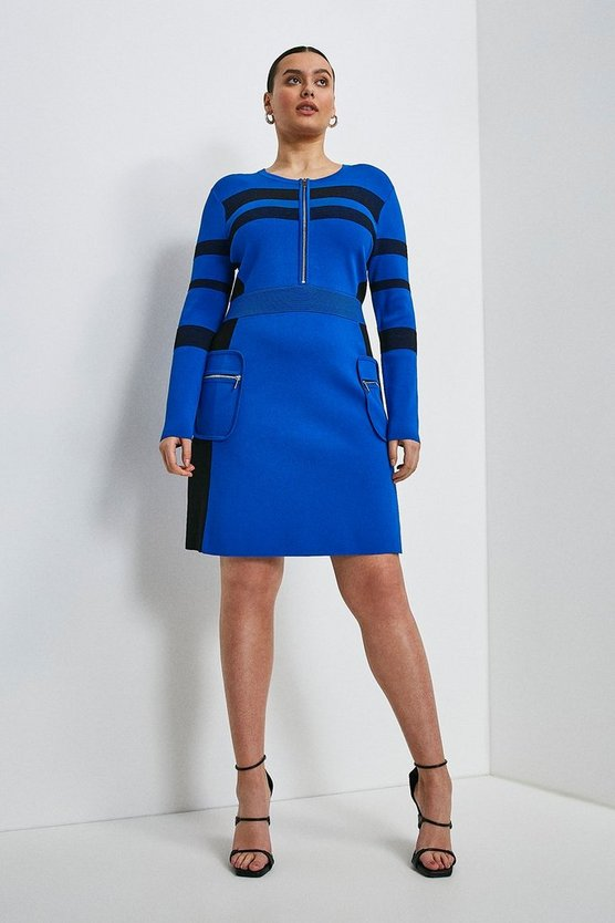 Cobalt Curve Sporty Ottoman Rib Stripe Dress
