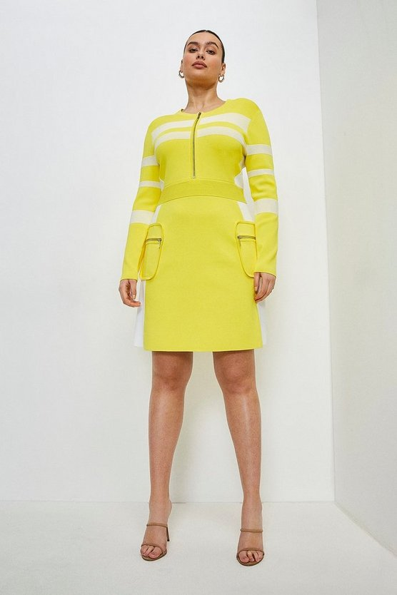 Yellow Curve Sporty Ottoman Rib Stripe Dress