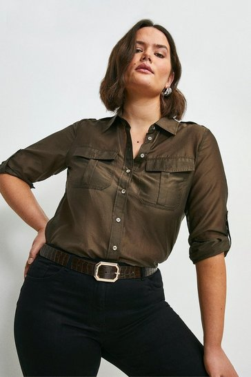 Chocolate Curve Silk Cotton Shirt With Pockets