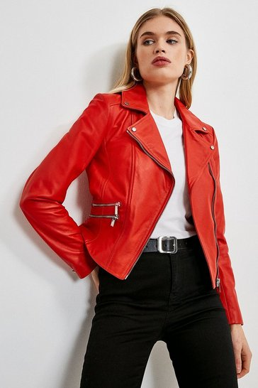 Red Leather Signature Single Zip Biker Jacket