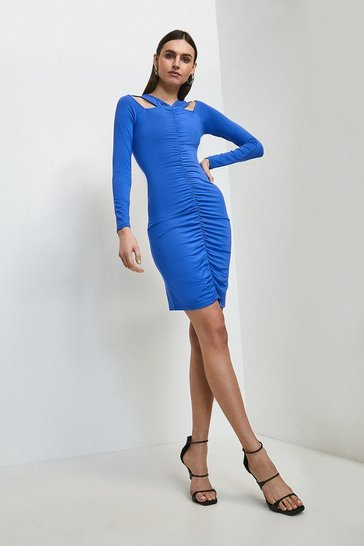 Cobalt Rouched Front Viscose Jersey Dress