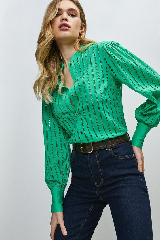 Green Cotton Broderie Shirt