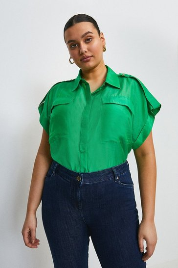 Green Curve Silk Cotton Short Sleeved Shirt With Pockets