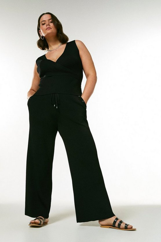 Black Curve Button Detail Rib Knit Trousers