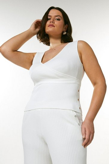 Ivory Curve Wrap Detail Rib Knitted Top
