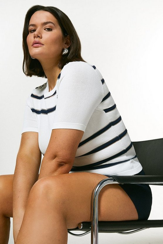 Ivory Curve Sheer Stripe Short Sleeve Knit Top