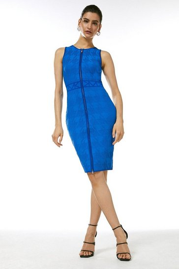 Cobalt Sporty Jacquard Knitted Logo Dress