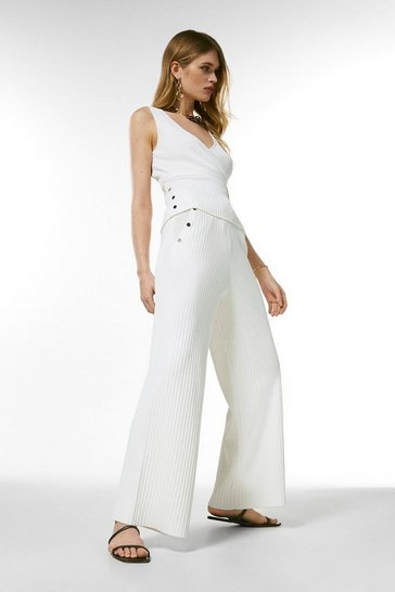 Ivory Button Detail Rib Knitted Trousers