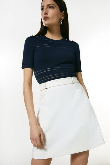 Navy Sheer Stripe Knit Short Sleeve Top