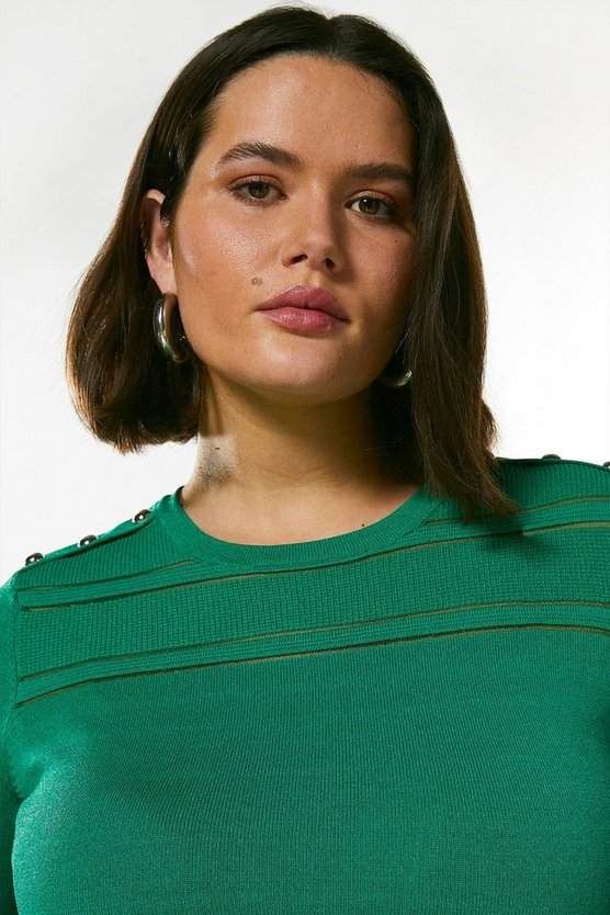 Green Curve Sheer  Knit Short Sleeve Top