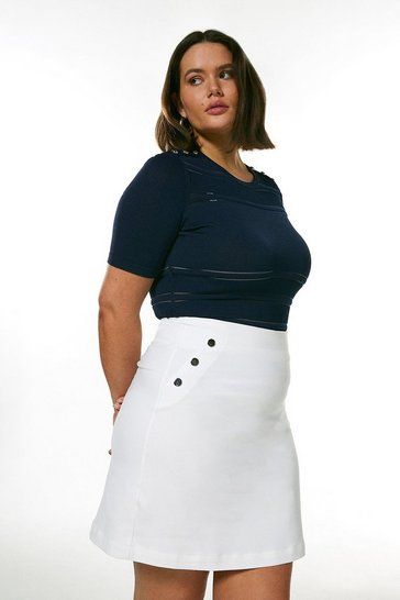 Navy Curve Sheer  Knit Short Sleeve Top
