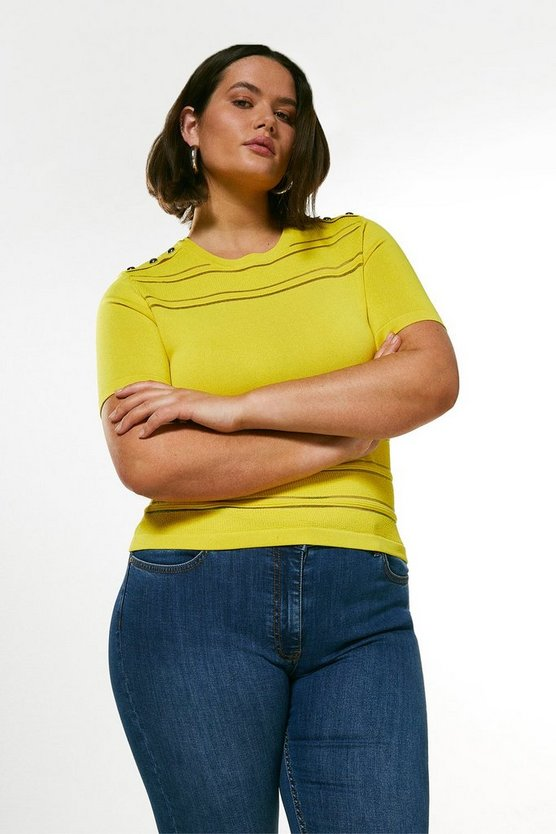 Yellow Curve Sheer  Knit Short Sleeve Top