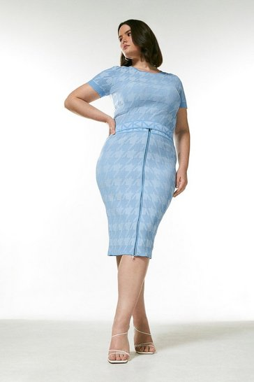 Pale blue Curve Sporty Jacquard Knitted Logo Skirt