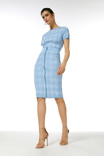 Pale blue Sporty Jacquard Knitted Logo Skirt