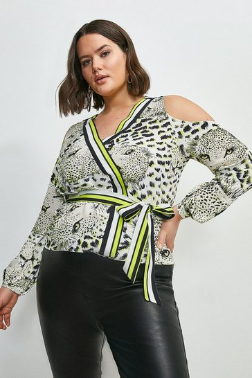 Curve Leopard Border Print Cold Shoulder Top