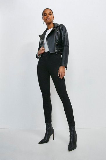 Black Leather Crop Biker Belted Jacket
