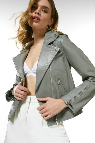 Grey Leather Ultimate Biker Jacket