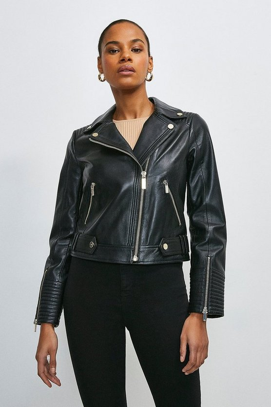 Black Leather Stitch Detail Moto Biker Jacket