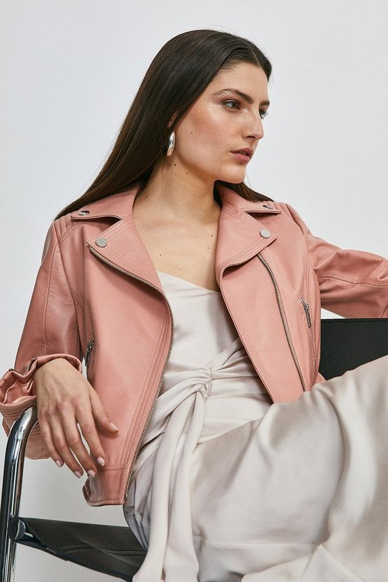 Blush Leather Stitch Detail Moto Biker Jacket