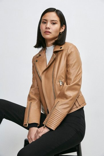Camel Leather Stitch Detail Moto Biker Jacket