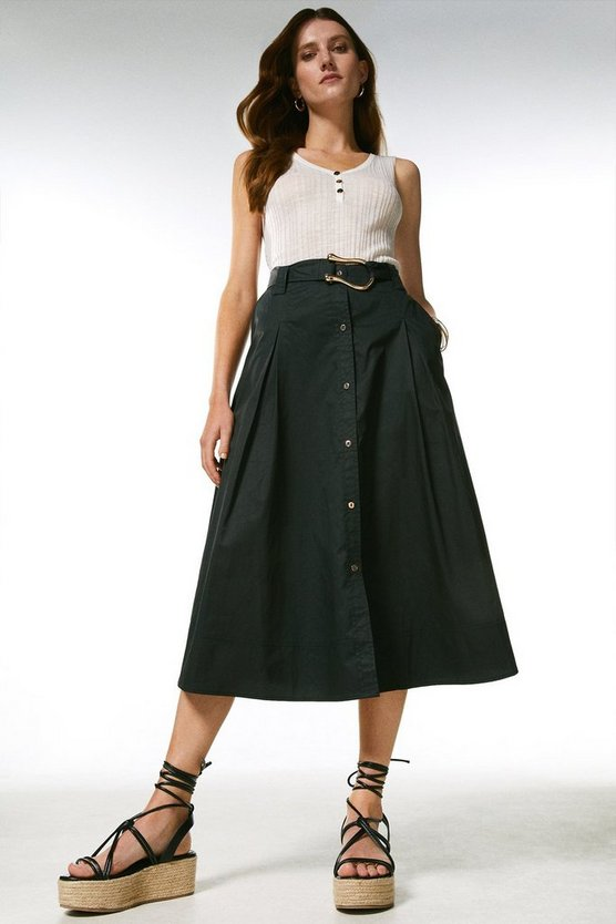 Navy Cotton Utility Skirt