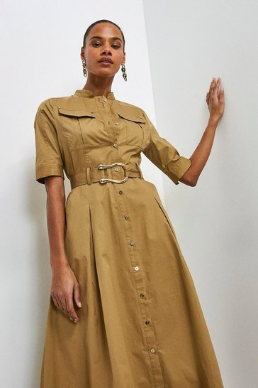 Stone Cotton Utility Shirt Dress