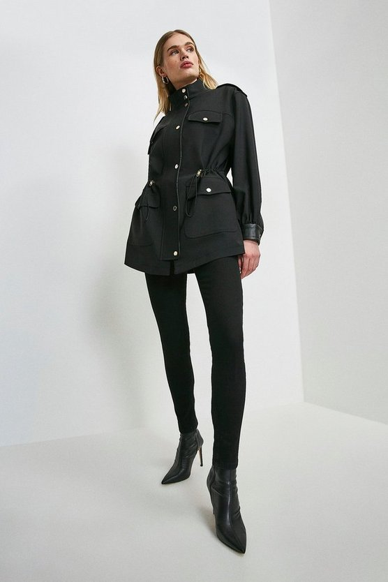 Black Polished Stretch Wool Contrast Coat.