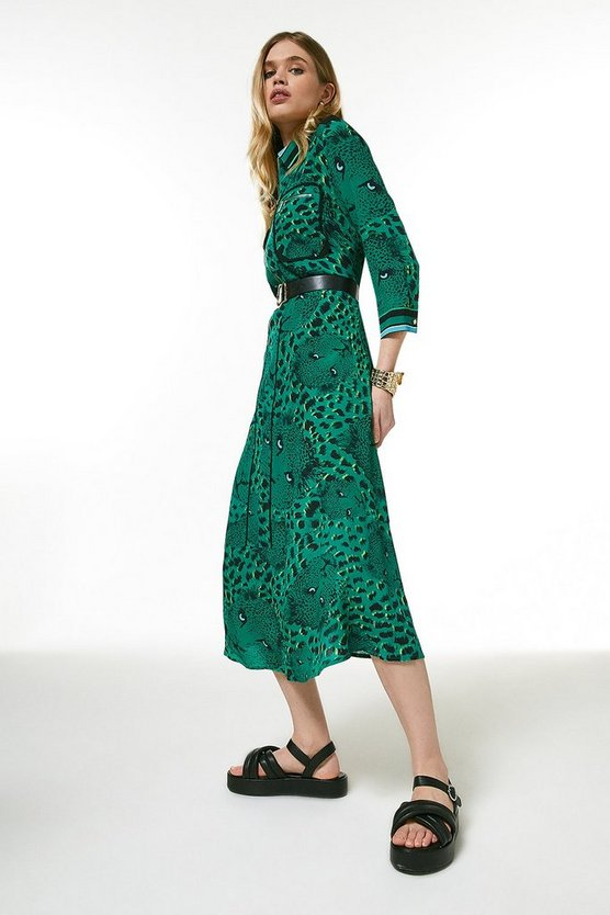 Green Conversational Leopard Shirt Dress