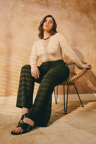 Black Curve Wool Blend  High Waisted Trousers