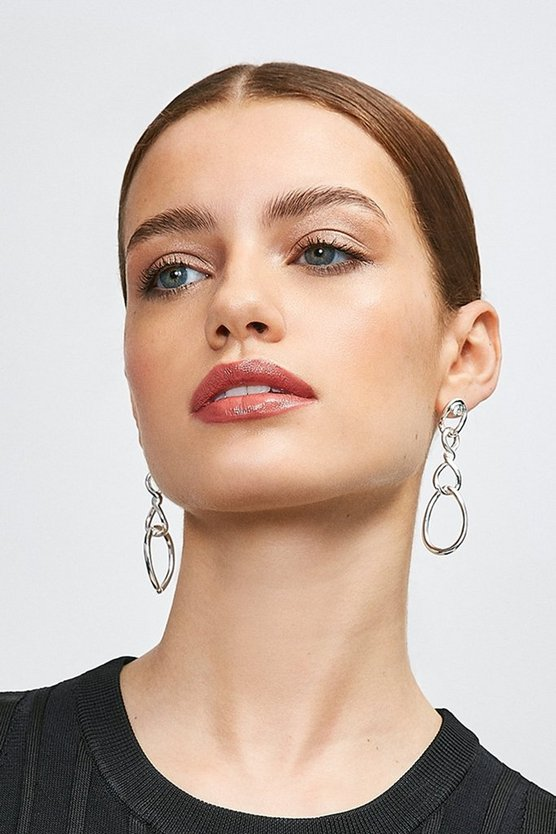 Silver Plated Twisted Drop Earrings