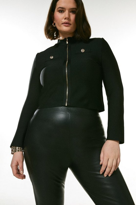 Black Curve Military Bandage Short Knitted Jacket
