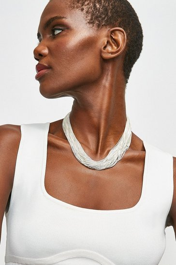 Silver Fine Layered Necklace