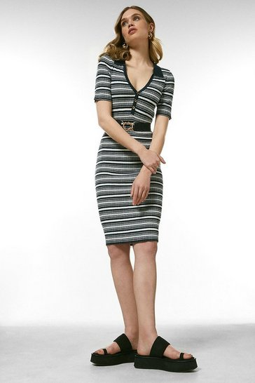 Navy Striped Linen Rib Collared Knit Dress