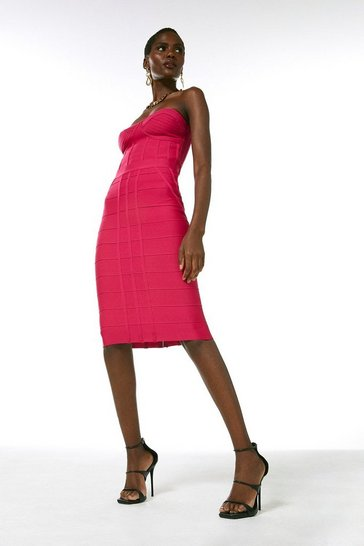 Hot pink Bandage Knitted Skirt