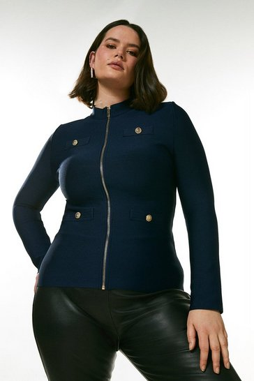 Navy Curve Military Bandage Knitted Jacket