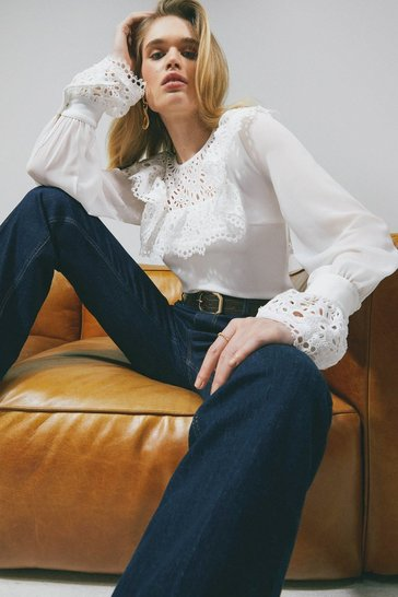 Ivory Cotton Broderie Ruffle Jersey Top